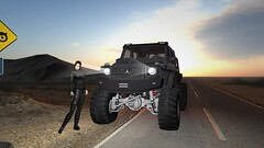 Desert Dueler (alexandriabrangwin) Tags: alexandriabrangwin secondlife 3d cgi computer graphics virtual world photography mercedesbenz amg g63 6x6 off road truck silver desert highway stopped headlights fbi field agent outfit sicario emily blunt massive tires tread sand dust dirt beam differential leather boots cargo pants tactilneck archer