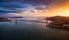 Above the Bridge (Piriya Pete Wongkongkathep) Tags: sanfrancisco aerial view helicopter goldengate bridge sunset marin