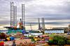 Gas Rigs (Geoff Henson) Tags: docks industrial rigs gas oil estuary river bridge water clouds port 500v20f