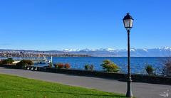 Quais de Morges (Diegojack) Tags: morges vaud suisse paysages lac léman debarcadère quais montagnes neige