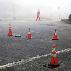 running late (jim_ATL) Tags: santa jogger holiday run fog street orange hazard cone atlanta explored