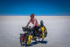 Amanda cruising through the Salar de Uyuni.