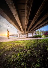 Enjoy the Sunshine (Ah Wei (Lung Wei)) Tags: fisheye georgetown georgetownpenang landscape malaysia penang penangbridge penangisland pulaupinang samyang samyang12mmf28edasncsfisheye samyang12mmf28 sunrise sunrises people portrait sun light movement run birds