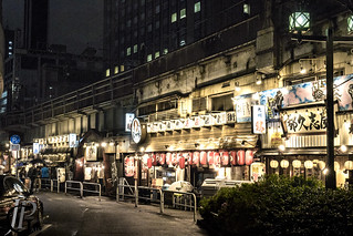 Restaurants in Yurakucho, under train lines