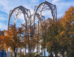 Minoru's Arches (writing with light 2422 (Not Pro)) Tags: pacificsciencecenter theunitedstatessciencepavilion arches gothic spacegothic seattle fallcolors fall richborder sonya77