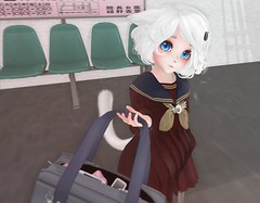 Can you hold this? (Yukiterudiary) Tags: kemono avatar mesh bento anime kawaii cute sugoi neko white cat girl small train school uniform melonbunny japanese sl second life 3d photo art outside aii ears
