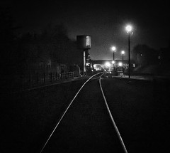 Great Central Railway Loughborough Leicestershire 3rd November 2017 (loose_grip_99) Tags: great central railway gcr railroad rail train loughborough leicestershire eastmidlands england uk night nighttime blackwhite noiretblanc mpd shed depot water tank tracks transportation preservation gassteam uksteam trains railways november 2017