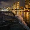 Whoosh! (OzzRod) Tags: pentax k1 smcpentaxfa31mmf18 beach sea water wave surge splash motion pool city lights night reflections waikiki honolulu hawaii vacation