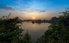 Halong Bay Sunset (Enrique EKOGA) Tags: halongbay vietnam sunset nature water sea landscape leaves hills silhouette colors travel nikon d800e shadow light sky clouds sun islands goldenhour
