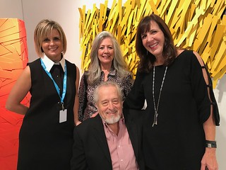 Sculptor John Henry surrounded by Artscape Lab owner Georgina Chumaceiro, wife Pamela and artist Jane Manus at the VIP Art Miami opening