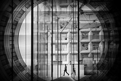 ...aroundus.. (*ines_maria) Tags: streetphotography street paris france architecture architektur outdoor reflection person woman exploring world travel urban urbanart exploration landscape city îledefrance puteaux blackandwhite mono monochrome windows panasonic gh outdoors europe landmarks ladefense sights bw french walk dcgh5 gh5 round view man geometry humaningeometry cycle reflections