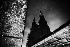 Fracture 80.365 (ewitsoe) Tags: sidewalk ground sky reflection building architecture reflect autumn canon 6dii sigma20mm artseries lens glass puddle street sun sunset evening monochrome bnw blackandwhite ewitsoe poland poznan polska europe