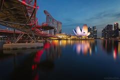 MARINA CHANNEL (ChieFer Teodoro) Tags: canon 6d 1635mm arca swiss gt2541 gitzo landscape cityscape nightscape blue hour long exposure singapore marina channel mbs dna helix bridge asm cbd reservoir
