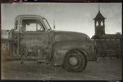 New pic of an old Chevy (Peeb-OK) Tags: chevrolet chevy truck black white bw monochrome lightleak nikon
