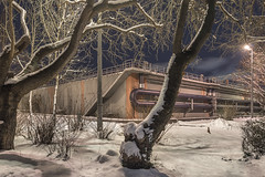 Do you know the smell of fresh snow? (Markus Lehr) Tags: freshsnow recyclingcenter trees pipes concrete shadows nopeople peoplelessness manmadelandscape nightshot nightphotography longexposure berlin germany markuslehr