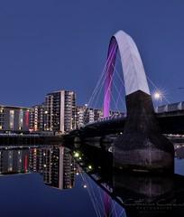 Clyde Arc.. (Catherine Cochrane) Tags: architecture buildings explore bridge calm cityscape city squintybridge dark clydeside glasgow scotland squinty reflections night uk bluehour