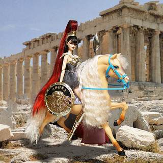 Athena of the riding on horseback