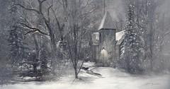 Holiday Trace! .. by Niani (xxnianixx) Tags: holidaytrace landscape photography virutalphotography niani digitalart trees snow winter christmas pine church lantern