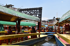 Canal boat traffic jam (nickdippie) Tags: mexico xochimilco ciudaddemexico canal boat canalboat gondolier colourful