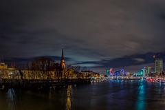 Darkest River (M-Z-Photo) Tags: frankfurtammain hessen deutschland de frankfurt langzeitbelichtung stadt main fluss hdr reflxionen wasserspiegelung kirche architektur