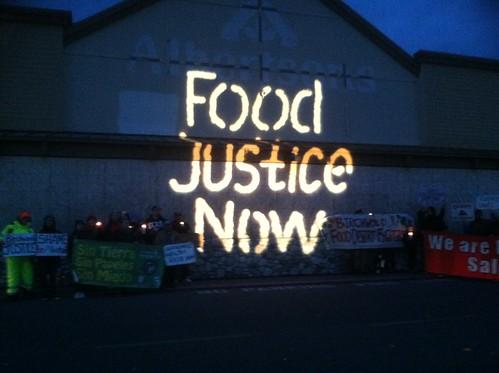 Bellingham Solidarity Brigade Food Justice Now Guerrilla Light Projection #3