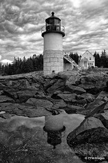 Reflections in Black and White (pandt) Tags: marshallpoint portclyde maine lighthouse light tidalpool blackandwhite bw monochrome coast coastal ocean newengland shy clouds shadows bridge historical outdoor seaside rocks lowtide tide canon eos 7d slr reflecting reflection sky forestgump