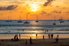 Sunset with yachts at Nai Harn beach, Phuket         XOKA0579s (forum.linvoyage.com) Tags: sunset yacht catamaran sail sailing sea beach people sun wave ocean naiharn phuket thailand landscape calm water gold blue phuketian sky boat sand bay