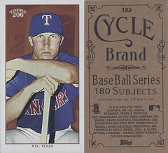 2002 Topps 206 Mini Baseball Card / Series 1 / Cycle - LAYNCE NIX / FYP #155 (Outfielder) (Texas Rangers) (Baseball Autographs Football Coins) Tags: series1 series2 series3 2002 2003 topps 206 topps206 baseball polarbear sweetcaporalred sweetcaporalblack cycle carolinabrights blackpiedmont redpiedmont uzit masterset sweetcaporal sweetcaporalblue blue mini redtolstoi blacktolstoi card minicard baseballcard 2002topps206 t206 layncenix texasrangers outfielder