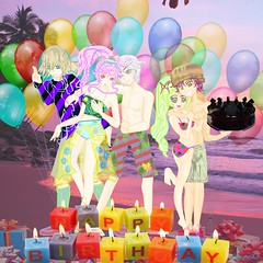 Beachside Birthday Blowout 11-13-17 Henry's birthday with Olivia Libra Donnel & Nowi 8591x8591 png (Commander ArcadeDoll) Tags: ocean eyes story novel by commanderarcadedoll libra olivia henry donnel nowi beach party birthday blowout seaside beachside bathingsuit swimsuit balloons presents gifts bikini fire emblem awakening waves calm tranquility loves hugs wide smile oreo cheesecake candles sand coconut trees sea breakers swash pink dusk sunset dawn sunrise buttcrack cameltoe rockhardabs tan skin beautiful gorgeous colourful iris diagonal stripes