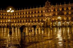 Plaza Mayor (José Hidalgo) Tags: lluvia rain salamanca castilla reflejos farolas nikonflickraward plazamayor