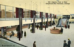 Greyhound Bus Terminal, Chicago, Illinois (SwellMap) Tags: postcard vintage retro pc 30s 40s 50s 60s thirties forties sixties fifties roadside midcentury atomicage nostalgia americana advertising coldwar artdeco linen design style architecture building
