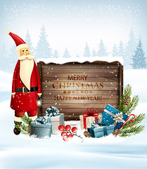 Holiday Christmas background with Santa Claus and a gift boxes and wooden sign. Vector (everythingisfivedollar) Tags: tree greeting red new concept sign vector holiday pile xmas christmas bow gift ice label snowflake box season illustration wood claus sack frame texture design color winter colorful merry december congratulation banner art santa wooden background board snow party border happy present year ribbon