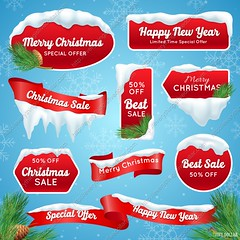 1781513 Christmas Sale Badges (everythingisfivedollar) Tags: emblem badge design stamp label set banner sign symbol tag element sticker style seal ribbon logo realistic 3d santa claus christmas xmas holiday vacation celebration tree event year clothing winter cap snow eve family present fun joy business special offer capes piles icicle ice sale discount shopping isolated vector illustration