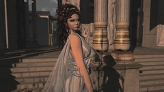 Bread & Circus Clowns (alexandriabrangwin) Tags: alexandriabrangwin secondlife 3d cgi computer graphics virtual world photography time portal traveller ancient rome colosseum past roman style woman robes toga thin veil long grecian hair gold leaf golden detail braids columns steps arena faded