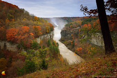 Get Inspired! (DTD_9379) (masinka) Tags: clouds cloudy trees photograph photo nature colors fall autumn foliage leaves morning daybreak dawn river genesee waterfall falls middle upper bridge serene inspiration mist scenic viewpoint view vantage gorge cliffs rocky rocks deep valley newyork ny statepark park etbtsy fabulous danielnovakphoto