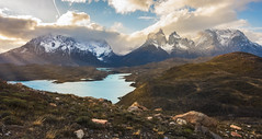 Epiphany (inkasinclair) Tags: torres del paine patagonia south america rays light beams mountains lake flora mirador condor lookout snow clouds sunset sun golden hour pehoe lago rocks landscape nature winter september nikon d7200