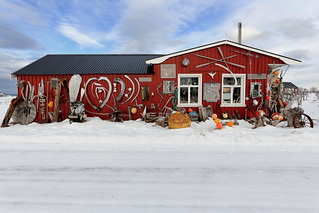 Eccentric ornate on rorbu-traditional fishing hut exterior. Straumnes-Vagan-Austvagoya-Lofoten-Norway. 0615