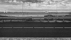 Horizontality (Alfred Grupstra) Tags: bridgemanmadestructure blackandwhite outdoors street nopeople architecture sky transportation urbanscene road steel cloudsky nature highway backgrounds metal