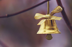 Little bell bow (JossieK) Tags: bell bow golden small ribbon shiny macromondays buttonsandbows