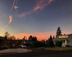 Sunrise on the street. (piranhabros) Tags: street house stopsign car clouds sky pink eugeneoregon southwest mornng dawn sunrise