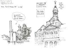 Haltes à Pont-à-Mousson et Chaumont (gerard michel) Tags: france lorraine pontàmousson usine sketch croquis