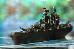 Battleship (~ **Barbara ** ~) Tags: macromondays gamesorgamepieces battleship game warship miniature small memberschoice november27th sea water ship pretend closeup bokeh sky boardgame canon7dii lessthanthreeinches focussed