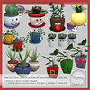 Sway's [Wintertime] Flower pot with plant   TLC (Sway Dench / Sway's) Tags: tlc sways flower pot plant garden houseplant christmas winter snowman santa rudolph snowflake candy cane
