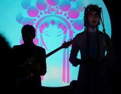 Performers in Silhouette (mikecogh) Tags: adelaide elderhall ozasiafestival sever chinese folk opera singer guitarist silhouette slide
