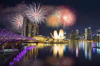 Fireworks at Marina bay Singapore, Singapore city skyline