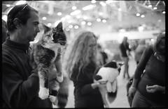(Purrfect As Cats) (Robbie McIntosh) Tags: leicamp leica mp rangefinder streetphotography 35mm film pellicola analog analogue negative leicam summilux analogico leicasummilux35mmf14i blackandwhite bw biancoenero bn monochrome argentique summilux35mmf14i autaut dyi selfdeveloped filmisnotdead strangers candid kodaktrix kodak trix ilfordilfoteclc29 ilfoteclc29 lc29 eyecontact f14 glow man cat catexhibition woman bokeh
