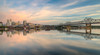The Illinois River and the Peoria Skyline (ap0013) Tags: peoria illinois peoriaillinois skyline city cityscape river illinoisriver reflection water bridge murray baker murraybakerbridge morning sunrise