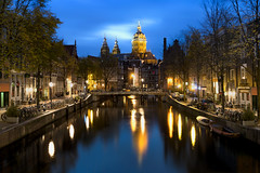 Canal House (JH Images.co.uk) Tags: amsterdam holland canal blue hour twilight reflection church night trees water hdr dri architecture