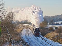 Pure Steam (Deepgreen2009) Tags: snow surrey sunshine winter rare steam uksteam railway train climb bank gomshall pullman belmond gradient working effort bulleid 35028 clanline merchantnavy pacific