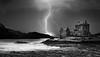 Eilean donan castle (andrebelg) Tags: castle scotland highlands loch lightning sea black white